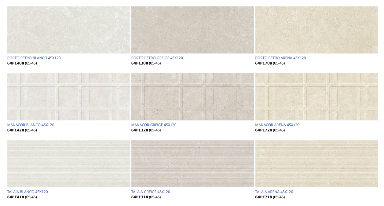 porto petro wall tile swatches in white, cream and beige.